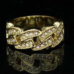 Other - Mens14k Gold Cuban Link Pinky Ring Icy Cz Band